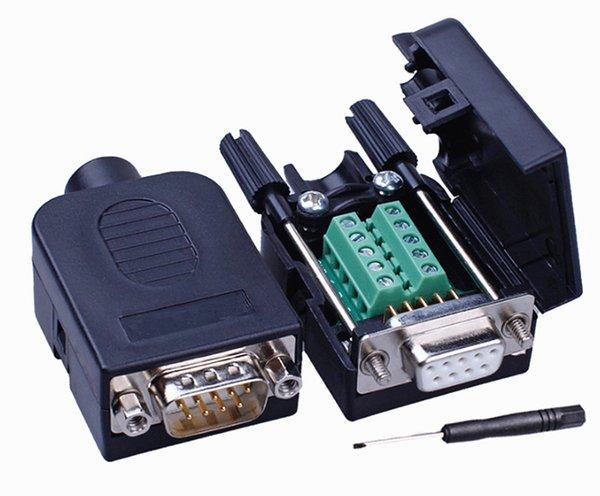 Conector DB9 COM terminal de solda livre de transferência DB9 Conector Macho RS232 DB9 Breakout Conector D-SUB Feminino DIY