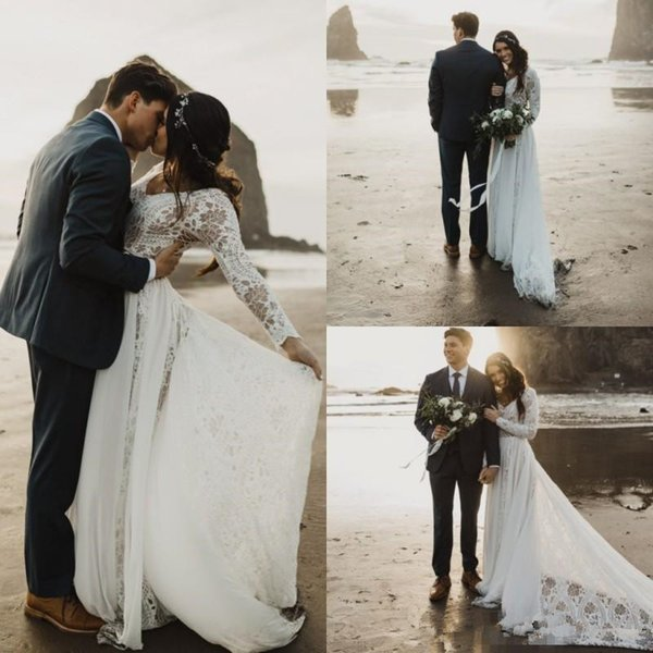 Romantic Boho Beach Wedding Dresses with Bell Long Sleeve 2019 Fairy Tale Skirt Summer Holiday Country Bridal Wedding Gown