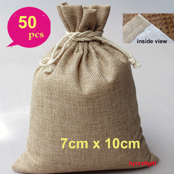 7x10cm vintage Small Double layer Natural Linen drawstring bags Gift hessian Burlap Wedding favor bag Jewelry Pouches Jute Packing Cases