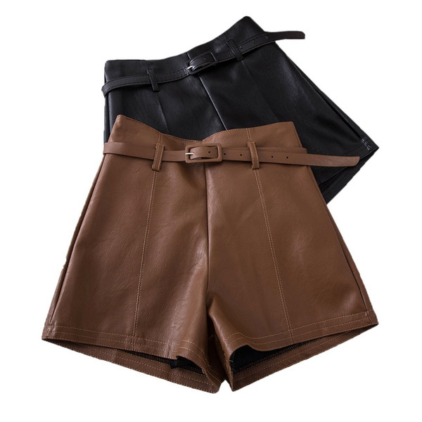 Casual Pu Leather Shorts For Women High Waist Sashes Wide Leg Shorts 2019 Spring Summer Loose Elastic Waist Leather Shorts Y19072001