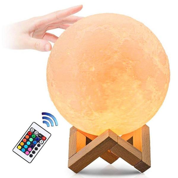 Usb luz gadgets 16 cor moda usb lâmpada gadgets electronicos Lua LED lâmpada 250mAh tecnologia de impressão 3d luz dropshipping