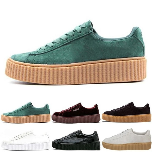 watch bca4e e4195 2019 Charity 2019 Fenty Suede Cleated Creeper Rihanna Grey Red Camo Black  Gold Tiple White Men Women Rihannas Casual Sneakers From Sxozz, $18.55 | ...