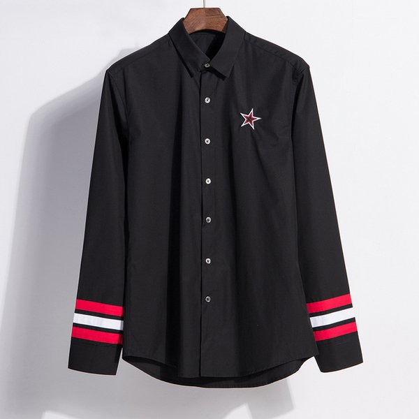 2019 Men Shirt Long Sleeve Star Embroidery England Style Top Quality Brand Black Shirts Mens Fashion Clothing Street Wear Casual