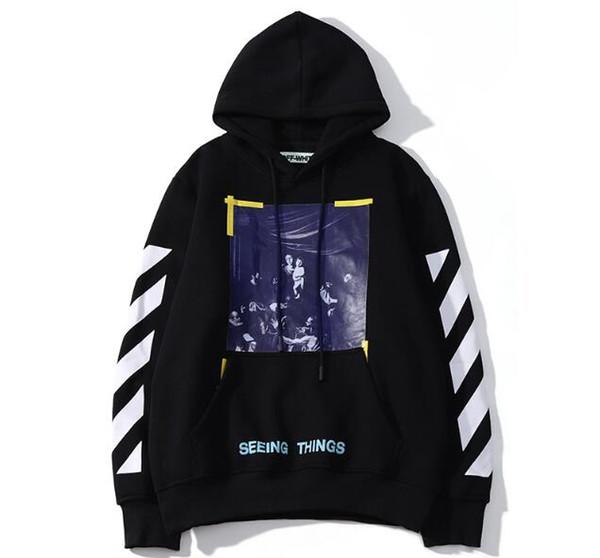 2019 Fashion Brand hoodie mens pullover stripe offset Printed hoodies Sweatshirts skateboard brand Vision religion painting white Clothes