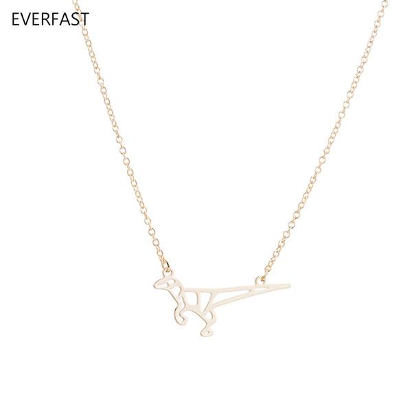 Wholesale 10pc New Origami Dinosaur Pendant Necklace Charm Chain Cartoon Lizard Anime Women Kids Love Indian Necklaces
