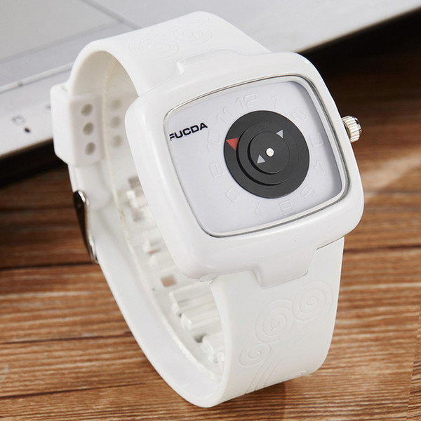 Simple Men Watch Turntable Korean Style Black & White Square Quartz Mens Wristwatch Male Rubber Strap Watches Relogio
