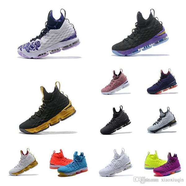 Cheap lebron 15 mens basketball shoes for sale Floral Purple Fire Ice Blue Orange youth kids outdoor sneakers tennis with box size 7 to 12