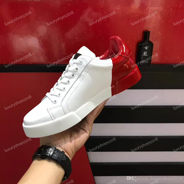 Top Women Men Casual Shoes Sneaker Mens Luxury Designer Sneakers Splicing Color White Leather Lace-up Shoes Party Dress Shoes