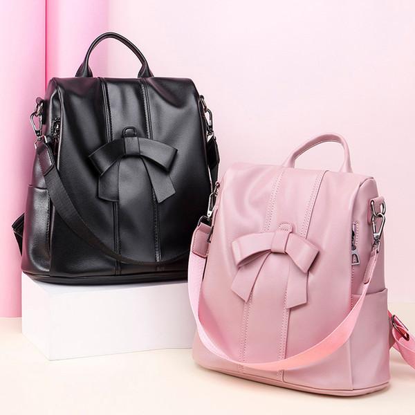 Rucksack-Frauen PU-Leder-Schulter-Beutel für Teenager Kinder Multifunktions Kleiner Bagpack weiblich Damen-Schule-Rucksack