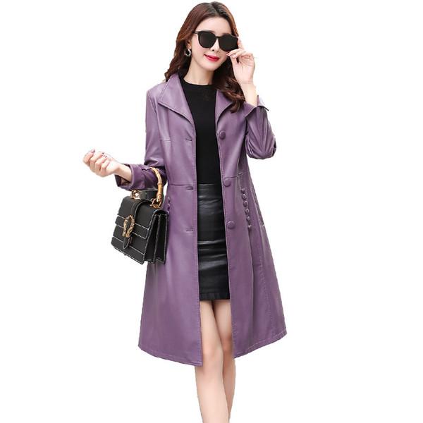Women Spring Autumn Coats Single-breasted Long Windbreaker Large size Outerwear Fashion New Female Genuine Leather Jacket FC08