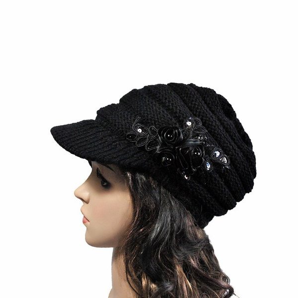 2019 Autumn Winter Fashion Women Knitted Hat Ladies Sequins Flowers Casual Elegant Solid Hats Bomber Hats
