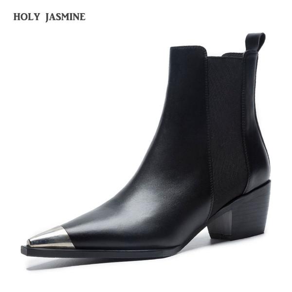 Zapatos de cuero 2019 de primavera / otoño clásico Diseño Negro Blanco punta estrecha tacón cuadrado Botas Comfort Bloque Talón de las mujeres