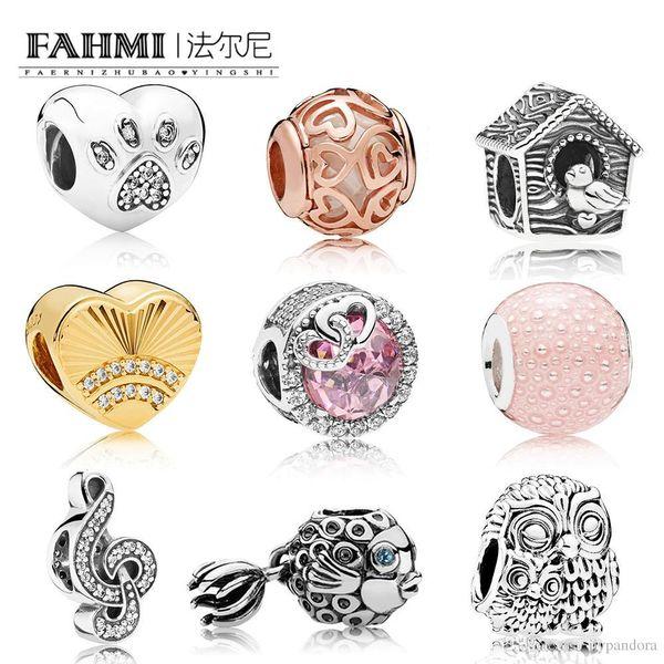 FAHMI 100% 925 Sterling Silver Fish Charm OWLS Beads BIRD HOUSE CHARM I Love My Pet Bead SHINE FAN OF LOVE CHARMs Rose Hearts Filigree Beads