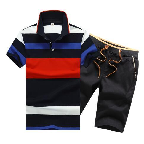 Summer Mens Tracksuits Short Sleeve Polo Shirt and Shorts New Style Lapel Cotton Sports Suit Large Size
