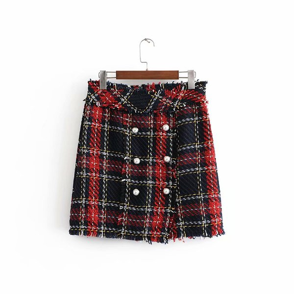 New european fashion women's retro color block plaid double breasted tweed woolen high waist a-line short boot cut skirt XS S M L