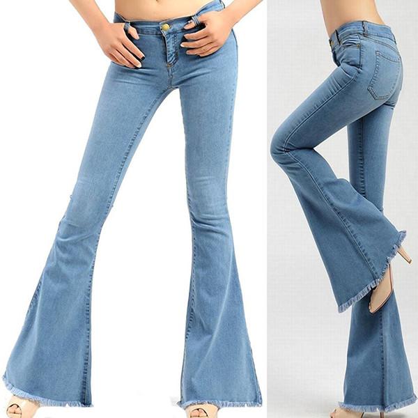 nuevo estilo a5150 6879f Compre Primavera 2019 Para Mujer, Pantalones Nuevos, Europa, Estados  Unidos, Pantalones Vaqueros De Trompa Con Flecos, Jeans, Mujeres,  Pantalones De ...