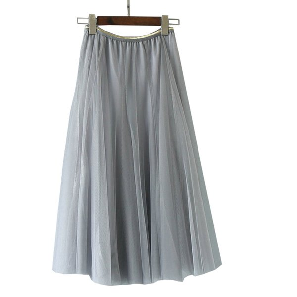 Casual Party Skirt Spring Autumn Tulle Skirts Womens Fashion Elastic High Waist Pink Black Long Skirts Elegant Tutu Maxi Skirt