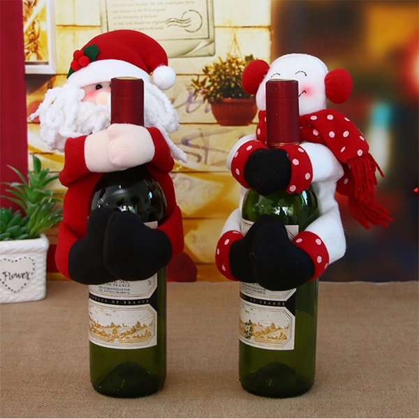 1/2/3/4PCS New Year Xmas Wine Bottle Cover Bags Dinner Party Decoration Christmas Accessories Santa Claus Wine Bottle Cover Bag
