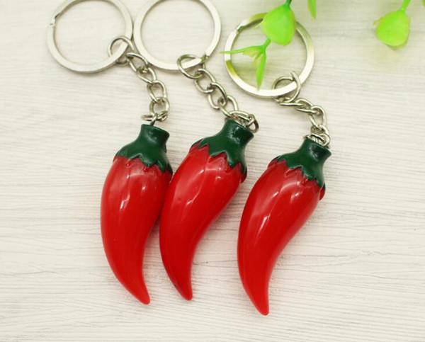 Plastic Red Pepper Charm Vintage Silver Keychain Ring For Keys Car DIY Bag Key Chain Handbag Jewelry Gift Accessories 15PCS
