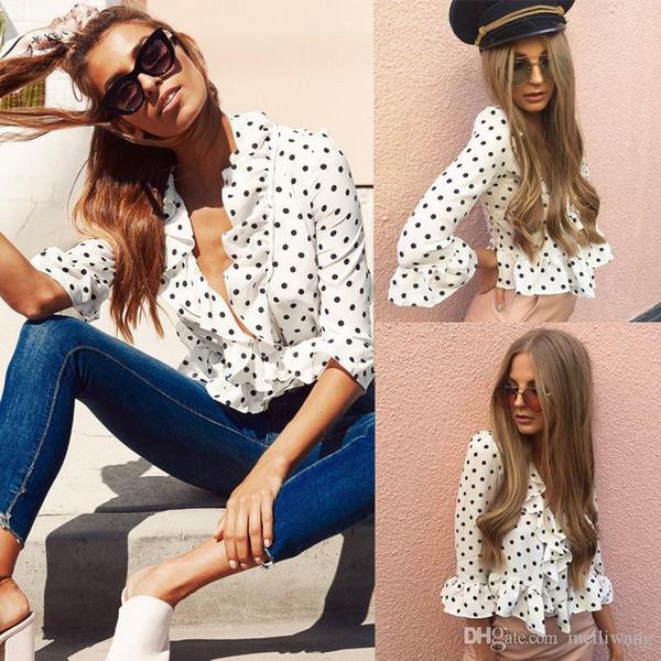 New Womens Tops And Blouses Fashion Half Flare Sleeve Polka Dot Print Chiffon Ruffles Blouses Summer Women Outfits