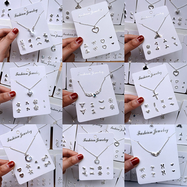 top popular 2019 Necklace earring combination earrings female students Korean simple necklace female pendants cute temperament earrings set 2021