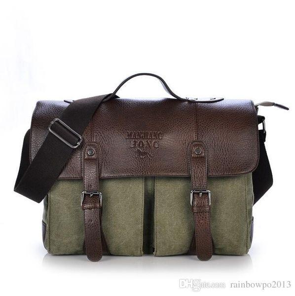 Wholesale brand men handbag high quality wear-resistant canvas business briefcase multi-functional horizontal laptop bag large canvas should