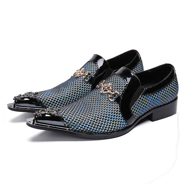 Острым носом скольжения на коровьей замши мокасины металл наконечником мужской пати выпускного вечера обувь человек вечернее платье квартиры натуральная кожа мужчины свадебные туфли
