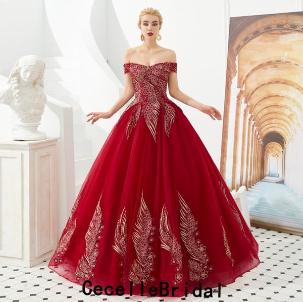 2019 новый красный с плеча тюль длинные платья выпускного вечера бальные платья корсет на шнуровке назад принцесса ну вечеринку платья реальные фото