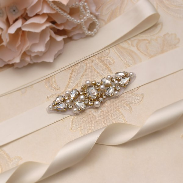 Großhandel Missrdress Hochzeit Schärpen Gürtel Mit Perlen Gold Kristall Perlen Strass Brautkleid Gürtel Schärpen Für Hochzeit Zubehör Ys904 Von