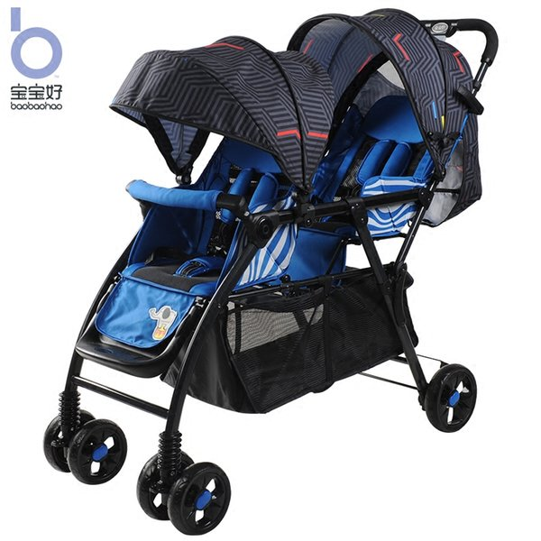 Twin baby strollers can sit reclining foldable lightweight ultra light easy to assemble trolleys stroller twin strollers can lie