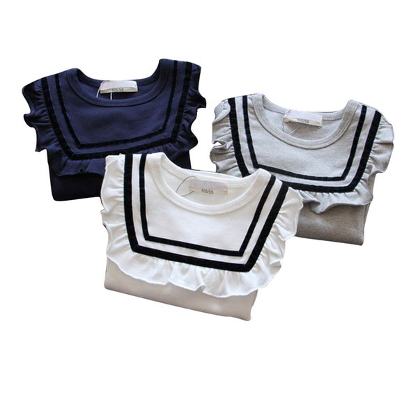 Kore Versiyonu 2019 Bahar Yeni Kız Bebek Donanma Uzun kollu Tişört Fırfır Yaka Bebek Gömlek
