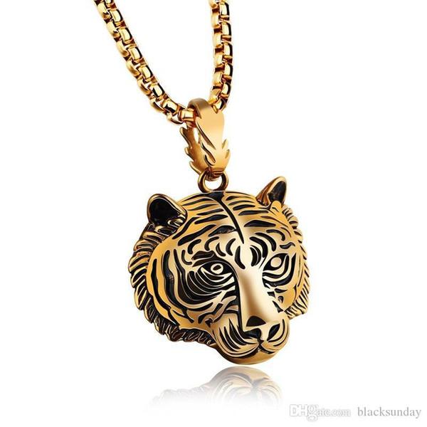 Fashion Hip Hop Mens Necklaces Tiger Head Necklack Perfect Men Hip-hop Jewelry Accessories Golden Silvery Black