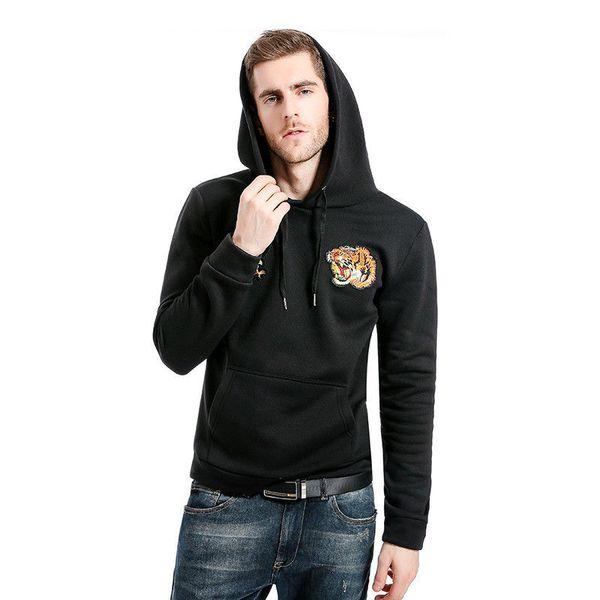 Men's Winter Slim Fit Hoodie Warm Cotton Hooded Sweatshirt Loose Coat Jacket Outwear Warm Winter Clothes Black Red White Gray