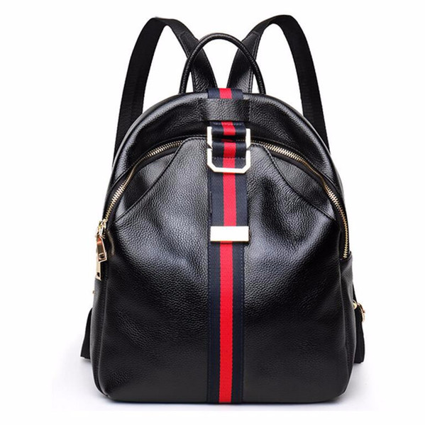 Wild2019 Atmosphere Concise Cowhide Both Shoulders Package Woman Genuine Leather Personality Stripe Joker Ma'am Bag
