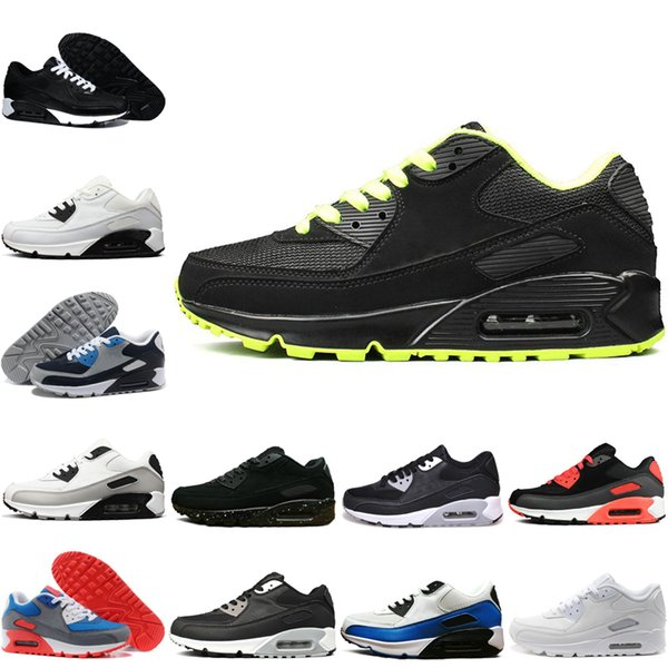 Nike air max 90 2018 Sıcak Satış Zapatillas 90 Ez Rahat Ayakkabılar için En kaliteli 90 s Siyah Beyaz Kırmızı Gri Mavi Yeşil Erkekler elbise ayakkabı Atletik se