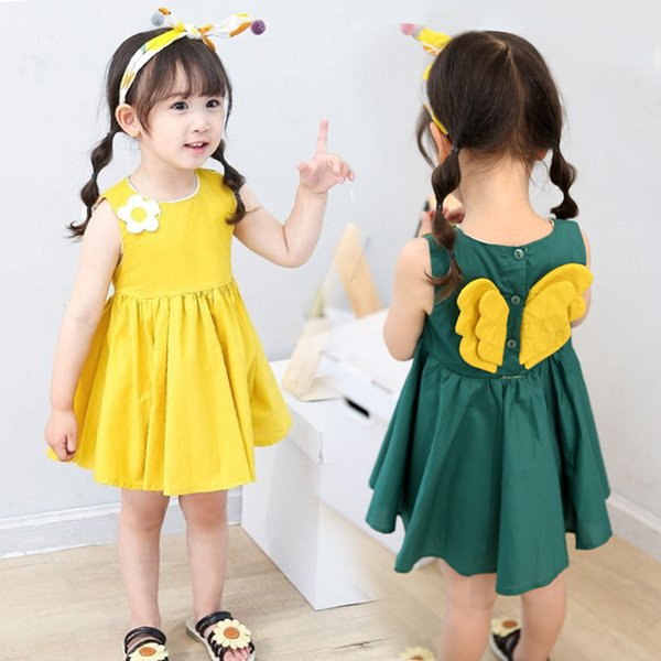2-6 anni Cute baby ragazze vestito di cotone con ala giallo verde bambini moda principessa gonna angelo ala abiti serbatoio vestiti di maglia