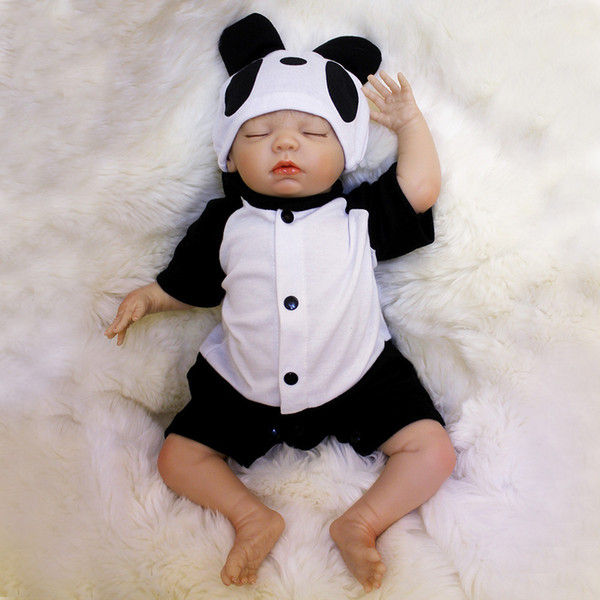 Reborn Dolls 18 inch Reborn Baby Doll Soft Vinyl Silicon Newborn Doll bonecas Panda Clothes For Children Gifts