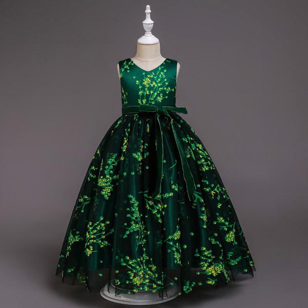 Süße grüne schwarze Spitze V-Ausschnitt Tee Mädchen Pageant Kleider Blumenmädchenkleider Prinzessin Party Kleider Kind Rock Custom Made 2-14 H317460
