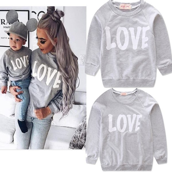 Famiglia Set Vestiti Madre e Bambini T-Shirt Famiglia Madre Figlia Vestiti coordinati 2019 Primavera Autunno Mamma Figlio Abbigliamento 5fy013