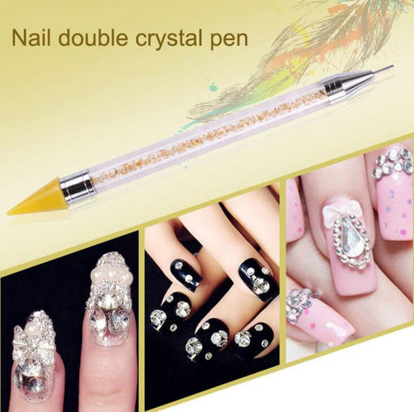 DHL Nail Art Double Fin Dotting Pen Cire Crayon Strass Gem Bijoux Perles Paillettes Pick Up Gel Acrylique Polonais Polka Dot DIY Outils de Peinture