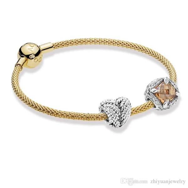 Regalos de Navidad Granos de oro de Pandora de la vida pulseras de plata esterlina 925 joyas paquete completo regalos