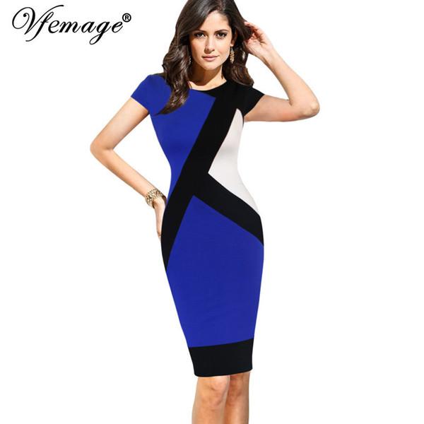 Vfemage Para Mujer Elegante Ilusión Óptica Colorblock Contraste Modesto Trabajo delgado Negocio Casual Vestido de Lápiz de La Envoltura 4725 Q190517