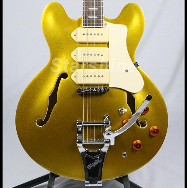 Starshine Semi Hollow Body Electric Guitar YL-HL69 Bridge 3 P90 pickups Gold Top ES Style
