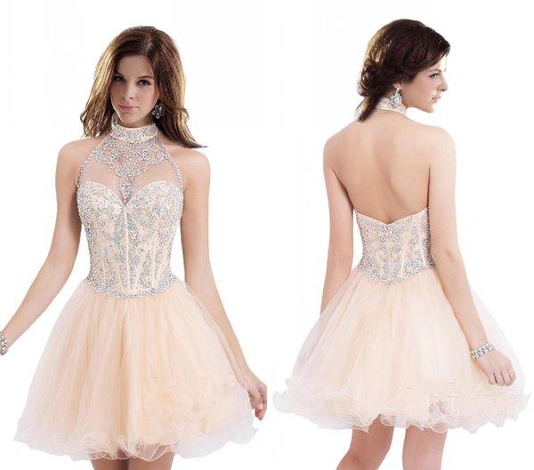 Espalda abierta Cuello de cabestro Arroz Blanco Vestidos de Fiesta Corto de Organza Corto Vestidos de baile Modesta Nueva llegada Cristal Vestidos lindos DH4056