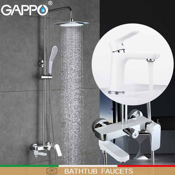 Gappo Badewanne Armatur weiß Waschtischarmaturen Becken Waschbecken Wasserhahn Dusche Wasserfall Badewanne Mixer Regendusche Set