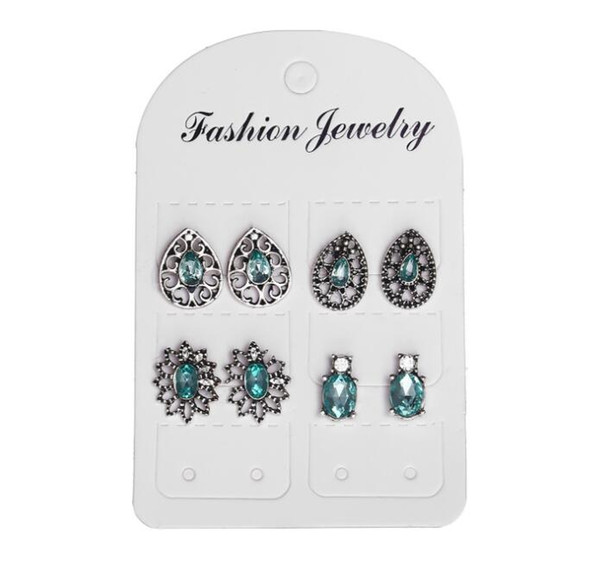 4 Pairs/lot Crystal stud earrings set for women Bohemian stud sets Hollow out Flower Jewelry for dress accessories