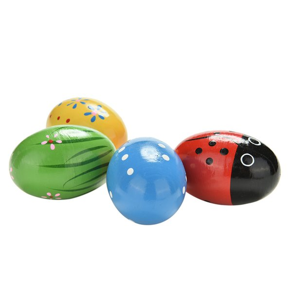 best selling Colors Random hot-selling Children Wooden Sand Eggs Instruments Percussion Musical Toys