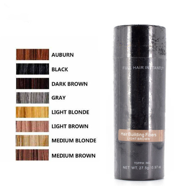 TOP 8 Colors Hair Building Fibers Thickening Instant Hair Loss Concealer Fiber 27.5g Keratin Wig Hair Extension Powder