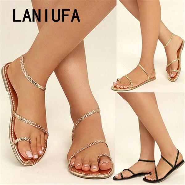 Plus La Taille Thong Sandales D'été Femmes Tongs Tissage Casual Plage Appartements Avec Des Chaussures Rome Style Sandales À Talons Bas # 273