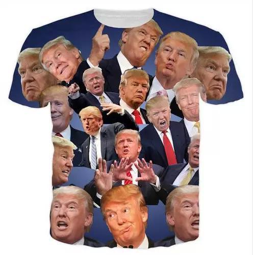 Yeni Moda Erkek / Kadının Donald Trump Komik Tops Hipster Yaz Tarzı Tees 3D Baskı Rahat Kısa Kollu T-Shirt Giyim Artı Boyutu
